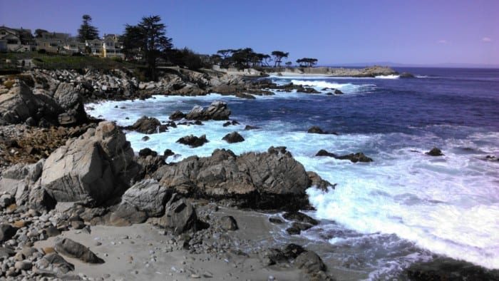 The Monterey Bay Coastal Recreation Trail is great for biking, walking and running in Monterey. The trail runs along the coast. Here is one view from the trail near Pacific Grove.