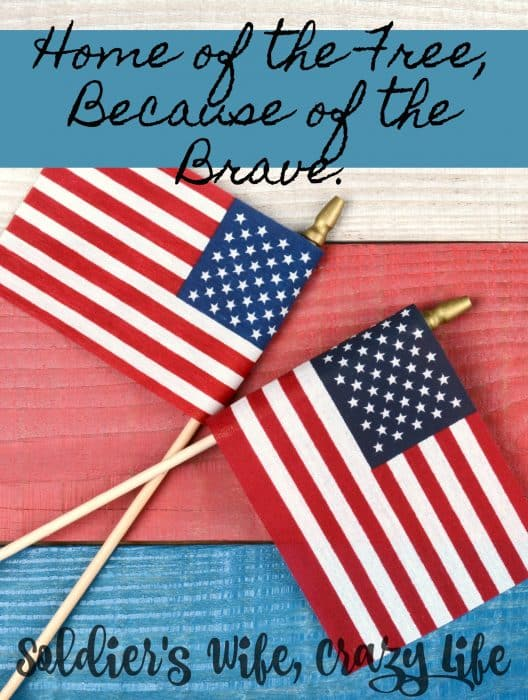 As a military spouse I am thankful to be able to say, Home of the Free, Because of the Brave.