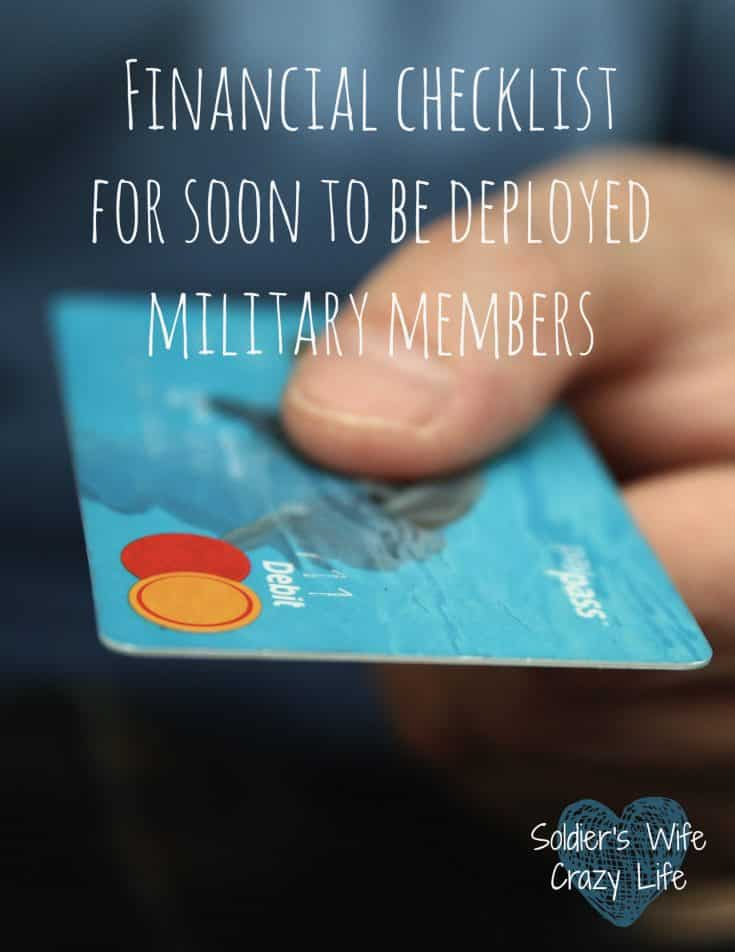 Financial checklist for soon to be deployed military members
